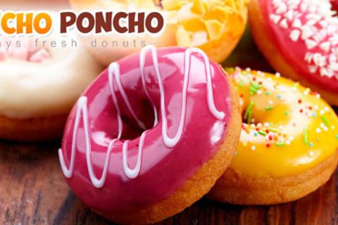 Свежие  и ароматные пончики с различными начинками от компании Boncho Poncho: 16, 24 или 32 штуки. Скидка 50%