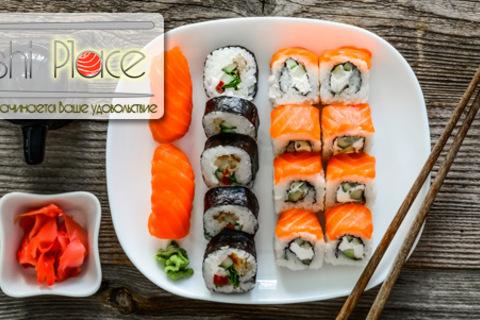 Скидка 70% на роллы «Калифорния» и «Филадельфия» + скидка 50% на всё меню от службы доставки Sushi Place. Напиток в подарок!