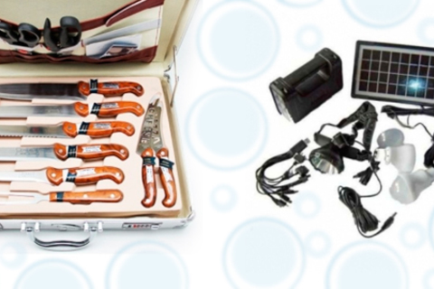 Набор для барбекю Bayerhoff, набор ножей в кейсе Frank Molle, туристическая газовая печка, а также зарядное устройство с фонариком GDLite от интернет-магазина Town Sales. Скидка до 64%